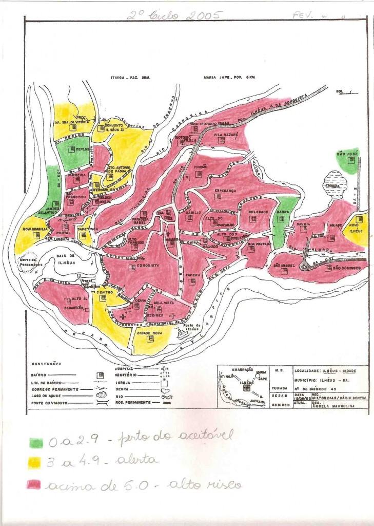 Em janeiro de 2005, pessoas ligadas ao vereador Jailson Nascimento deixaram a coordenação do programa. Em Fevereiro do mesmo ano, os números de infestação do mosquito nos lares dos ilheenses era preocupante. As áreas pintadas de verde significam que o índice de infestação é de 0 a 2,9% (risco aceitável), amarelas de 3% a 4,9 % (alerta), vermelhas acima de 5% (alto risco). Confira!