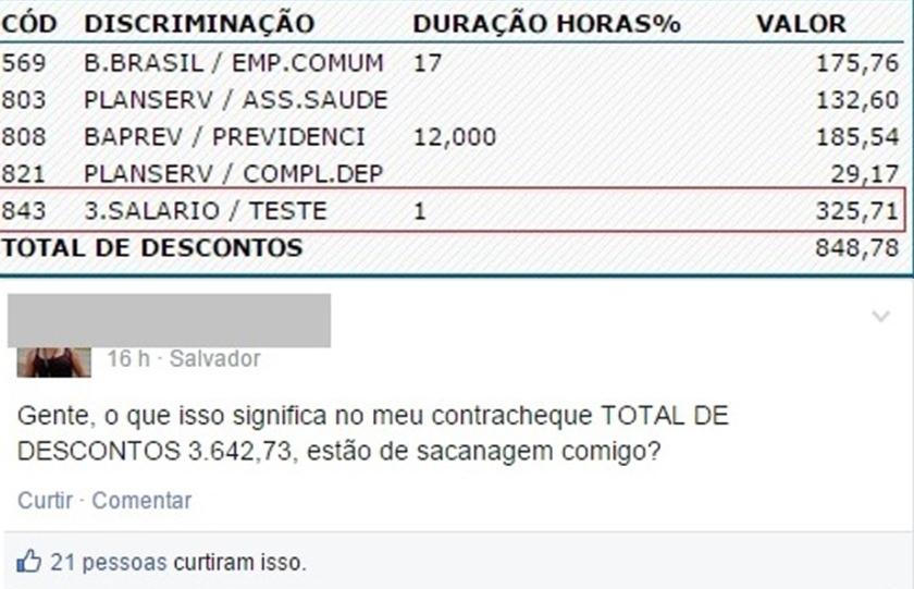 Contracheque mostra desconto indevido de 325 reais. No Facebook, professora afirmou que teve mais de R$ 3 mil descontados.
