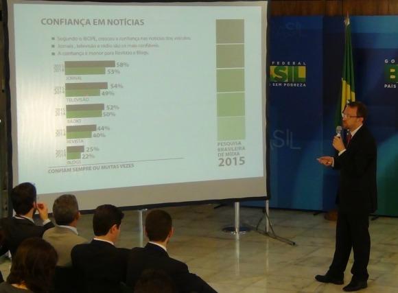 Ministro ThomasTraumann apresenta a Pesquisa Brasileira de Mídia 2015. Imagem: Iano Andrade/Gabinete Digital.