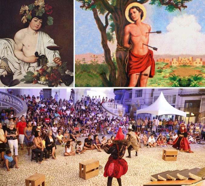 Baco, São Sebastião e a peça profana diante da Catedral.