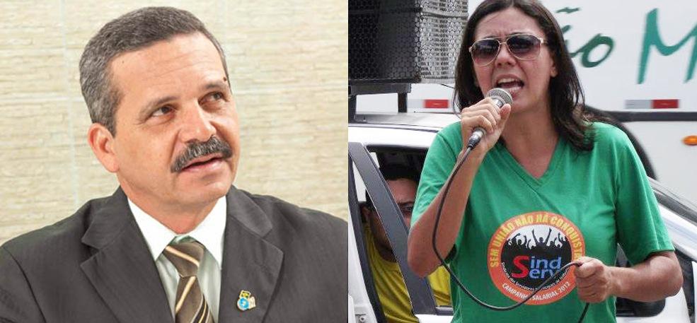 Prefeito Claudevane Leite e Wilmaci Oliveira, presidente do Sindserv.