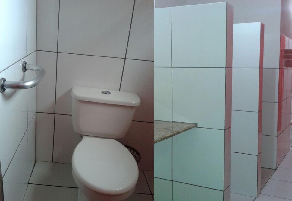 Banheiros da Cabana do Cais são adaptados para pessoas com dificuldade de locomoção.