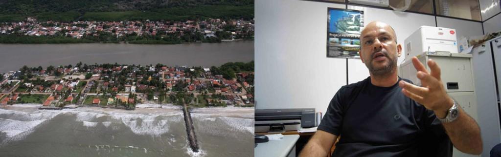 Mar avançará ainda mais sobre as casas do bairro São Miguel, em Ilhéus. Imagem: José Nazal.