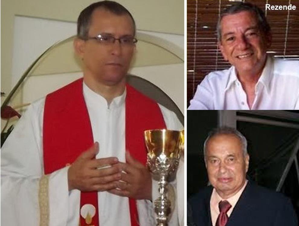 Os amigos José Rezende e José Abobreira homenagearam o Padre Jarmil, que deixará a Igreja de São João Batista.