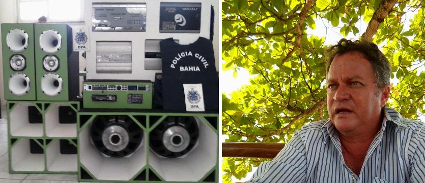 Equipamento de som apreendido em Ilhéus em setembro de 2013 e Paulo Fonseca. Imagens: Polícia Civil e    Blog do Gusmão.