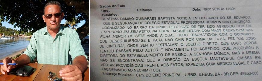 Damião e a imagem do boletim de ocorrência.