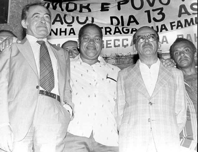 Da esquerda para a direita: Miguel Arraes, Napoleão Marques e Teotônio Vilela.