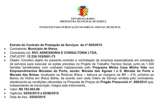 Imagem do extrato do contrato no Diário Oficial do Município.