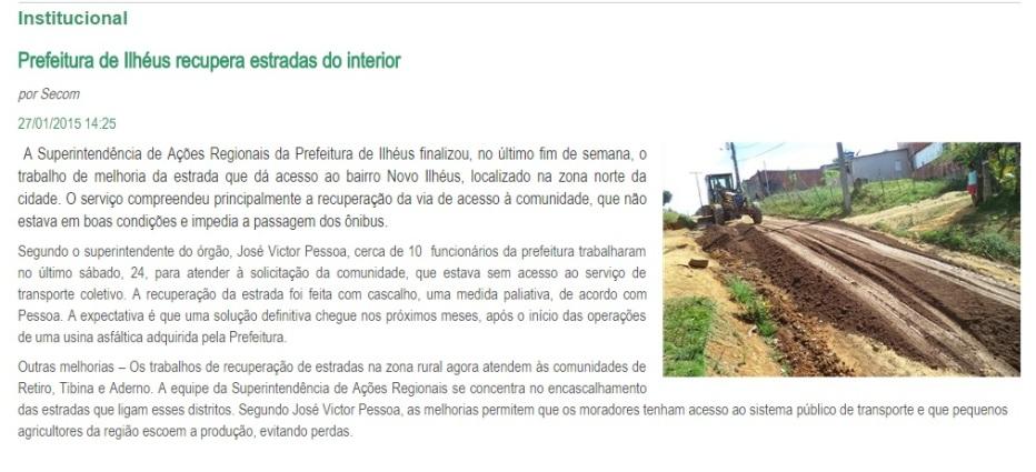 Imagem de matéria no site da Prefeitura de Ilhéus.
