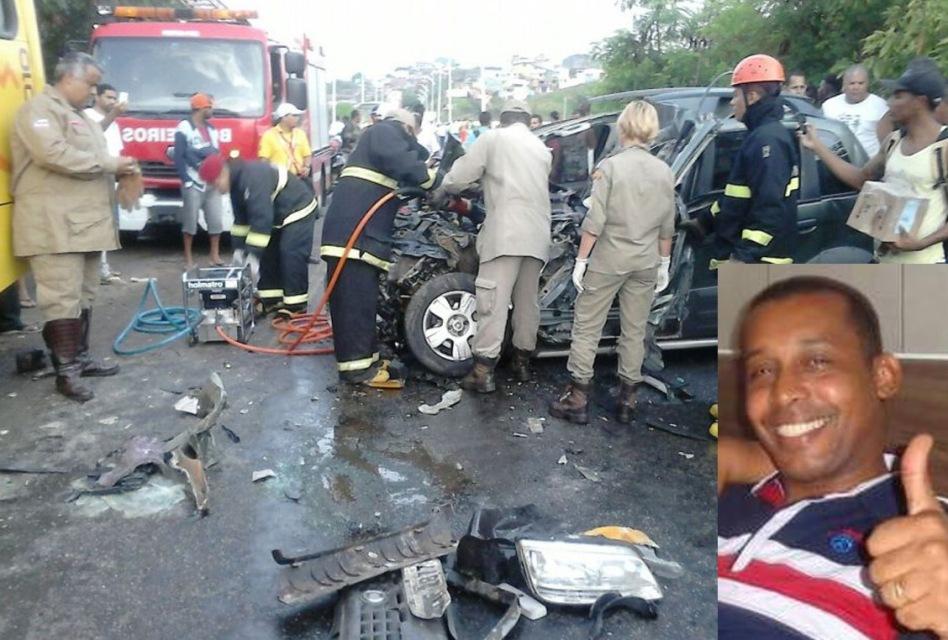 Bombeiros trabalham no resgate do corpo. O Pastor Humberto Evangelista tinha 47 anos.