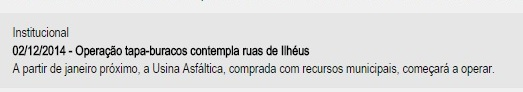 Promessa não cumprida (imagem de texto da Prefeitura de Ilhéus).