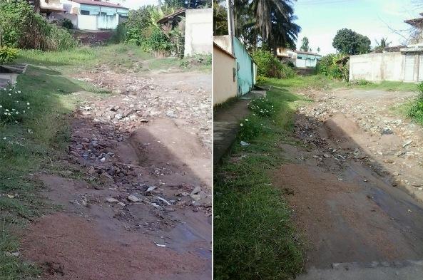 Rua E, em Olivença. Imagens enviada via WhatsApp por um leitor do Blog do Gusmão.