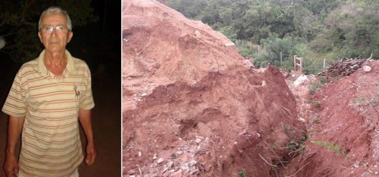 """A propriedade do agricultor Edízio Catarino já experimenta os impactos trazidos pelos """"trilhos do progresso""""."""