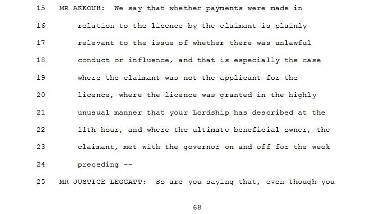 Trecho da transcrição em que o advogado da ENRC cita suposto encontro entre Pramod e Wagner.