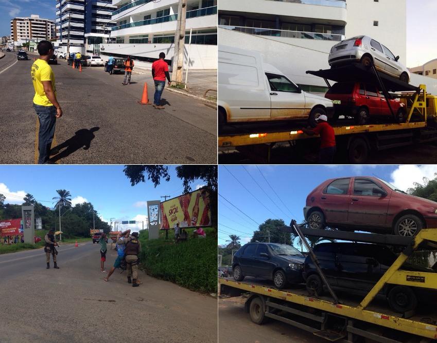 Operação reuniu policiais militares e agentes de trânsito e atuou nos bairros Pontal e Teotônio Vivela.