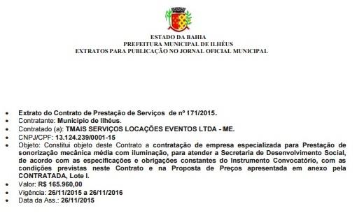 Imagem do extrato do contrato publicado no Diário Oficial da Prefeitura de Ilhéus.