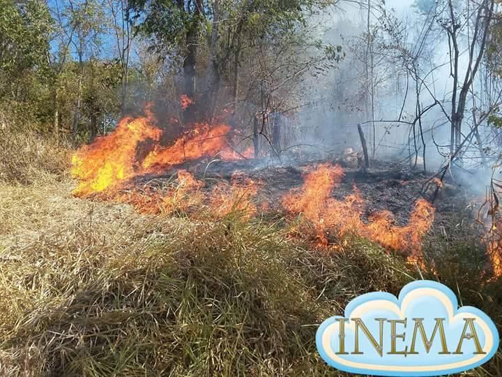 Moradores não conseguem conter avanço das chamas.