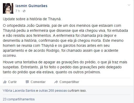 Publicação de Iasmin Guimarães no Facebook.
