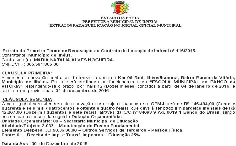 Imagem do Diário Oficial do Município.