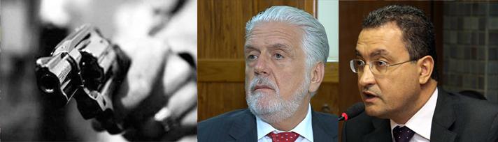 Jaques Wagner e o seu secretário casa civil Rui Costa: políticas ineficientes na segurança pública e taxa bem elevado de homicídios.