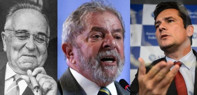 Getúlio, Lula e Moro.