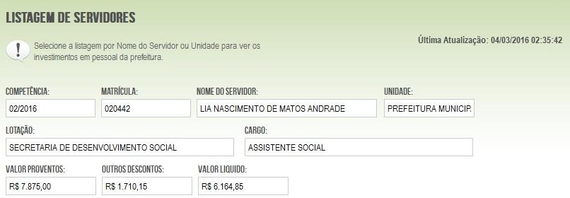 Imagem da consulta no Portal da Transparência.