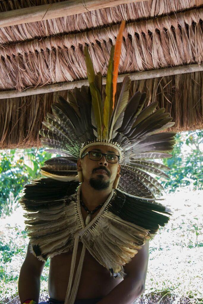 Cacique Ramon: professor e liderança indígena. Imagens: Marcelo Delfino.