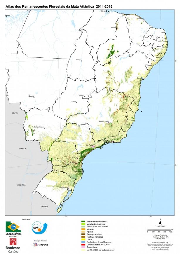 Atlas dos remanescentes florestais da Mata Atlântica. Fonte: SOS Mata Atlântica.