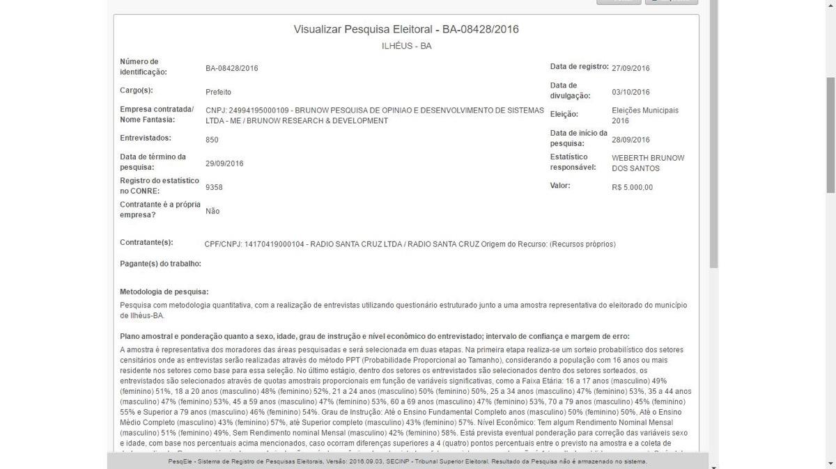 Imagem do site do TSE mostra dados de registro da pesquisa. Clique na imagem para ampliar.