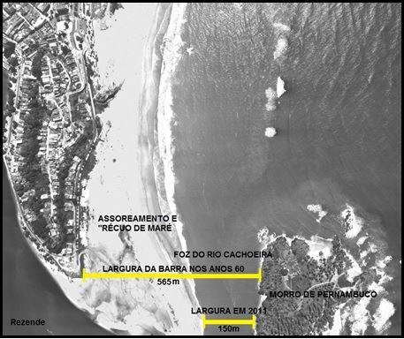 José Rezende aponta recuou do mar após assoreamento. Com 533m, nova ponte será maior que a foz do rio Cachoeira (150m).