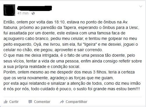 Relato da vítima no Facebook.