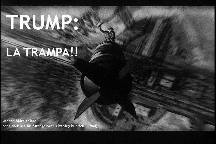 Sebáh Vilas-Boas brinca com cena do filme Dr. Strange Love, de Stanley Kubrick. No quadro, o personagem despenca montado como um cowboy numa ogiva nuclear.