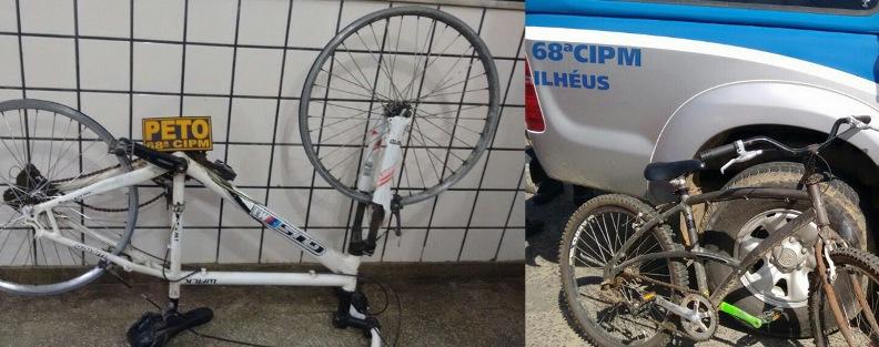 Bicicletas recuperadas após furtos. Imagens da Polícia Militar.