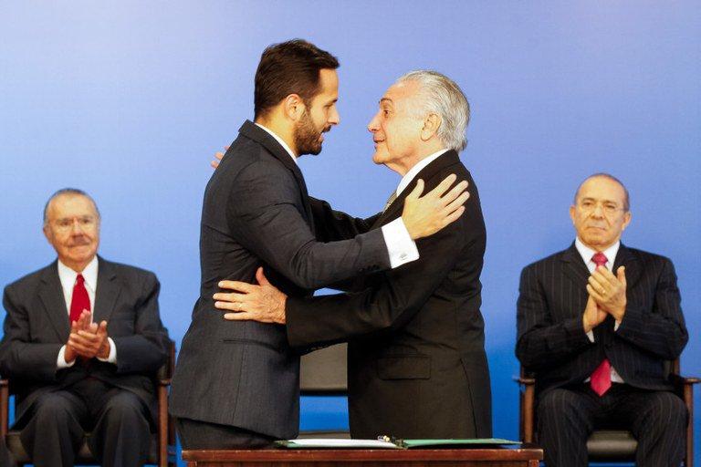 O ex-ministro Marcelo Calero e presidente Michel Temer.