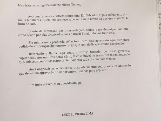 """Carta de Geddel para o """"amigo"""" Temer. Imagem: G1."""