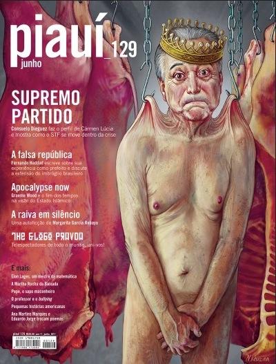 Desenho de Nadia Khuzina na capa da revista piauí/junho-2017.