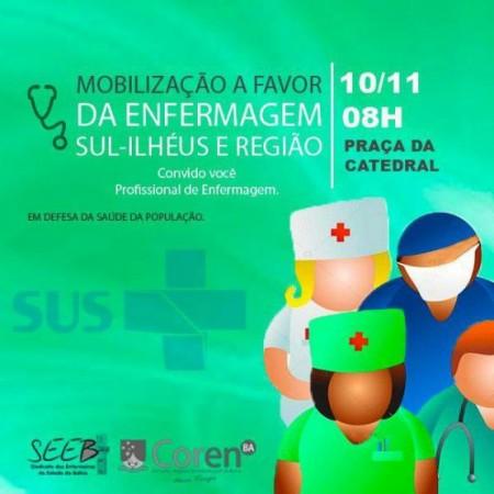 Mobilização da Enfermagem de Ilhéus e região. Imagem: Divulgação.