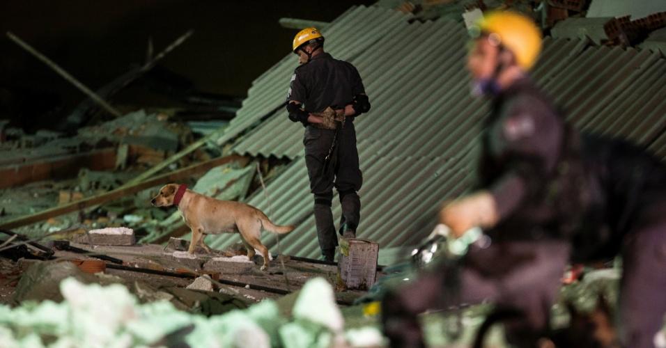 Bombeiros e cães buscam as vítimas sob os escombros do desabamento do dia 28 de Agosto, na Zona Leste de SP.