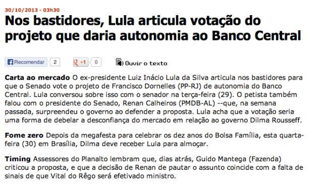 Imagem da publicação da Folha sobre Lula.