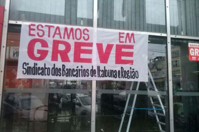 Bancos em greve em Itabuna. Imagem: Gabriela Caldas
