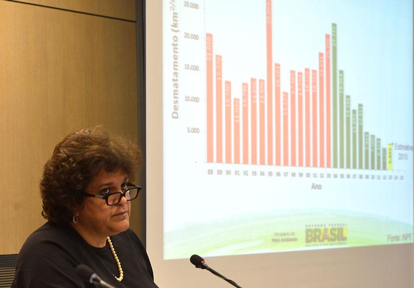 Izabella Teixeira divulga os maus números do desmatamento na Amazônia. Foto: Marcello Casal Jr./ Agência Brasil.