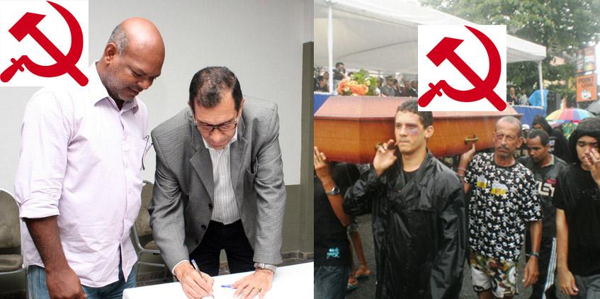Na câmara o PC do B mantém Jabes vivo politicamente. Nas ruas, carrega o caixão simbólico do prefeito.