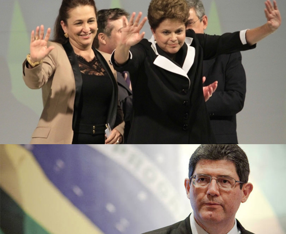 Kátia, Dilma e Levy.