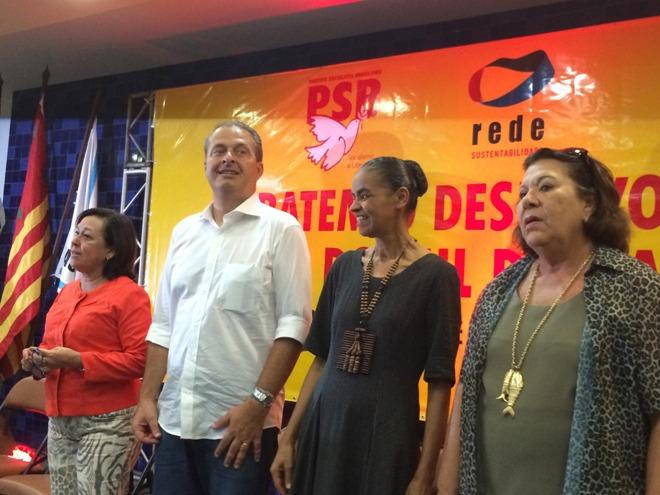 Lídice da Mata, Eduardo Campos, Marina Silva e Eliana Calmon, no encontro da aliança PSB/Rede, em Ilhéus. Foto: Emílio Gusmão.