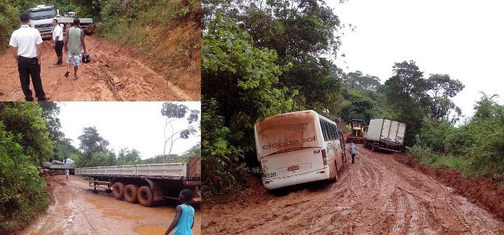 Veículos grandes atolaram no imenso lamaçal que a estrada virou. Images: Maraú Notícias.