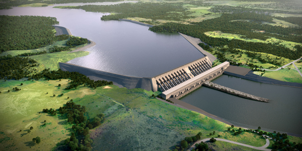 Represa na usina de Belo Monte.
